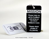 Geocaching Mission Tag, Instructions, Weatherproof, UV Resistant, Trackable Information, Custom, Durable, Travel Bug, Geocache