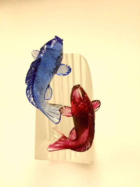 Japanese koi fish carp glass sculpture for Koi fish statue