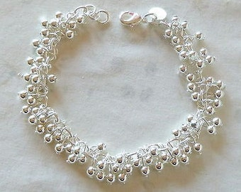 Hallmarked Sterling Silver bead Multi-Bead Bracelet ~ 8 inches