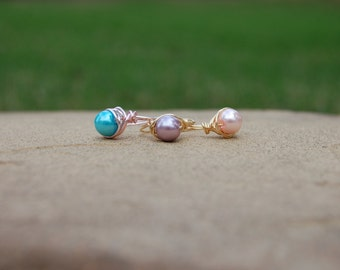 Wire Wrapped Pearl Ring, Pearl Ring, Wire Wrapped Ring, Wire Ring