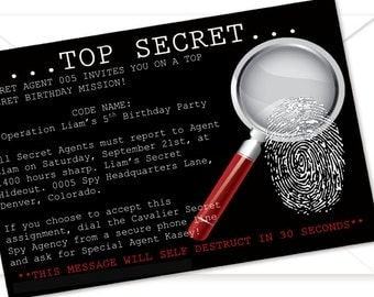 Printable - Spy/Secret Agent Invitation