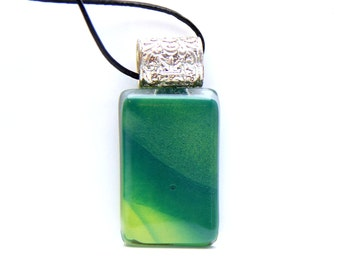 Rectangle green Fusing glass pendant