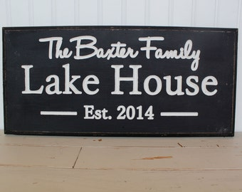 Custom Carved Last Lake House Sign Personalized Family Name Sign