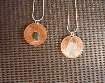 Old coins and sea glass pendant necklace