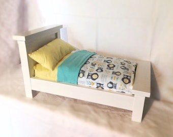 Handcrafted Farmhouse Doll Bed- Complete with 3 piece bedding set