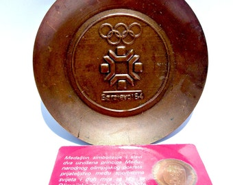Olympic Games Sarajevo 1984 Plate & Coin