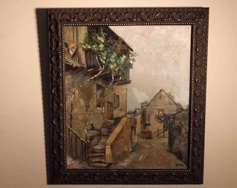 1946 Vintage The Red Geranium French Italian architectural  village oil monogrammed signature