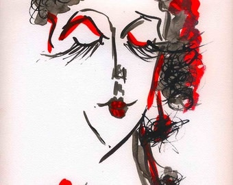 modern abstract portrait art print wall art decor painting drawing watercolor poster