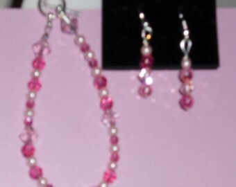 Pink pearl and pink Swarovski crystal bracelet and earrings