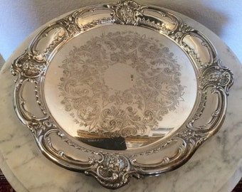 Antique, Vintage EPCA Bristol Silverplate By POOLE, 251 Pattern Ornate Serving Tray