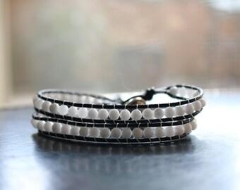 Leather Wrap Bracelet - White Jade, Yoga Bracelet