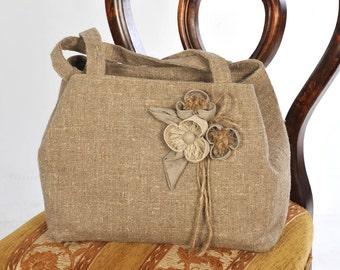 100% Linen Hand Bag