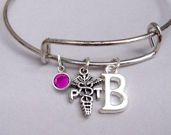 Swarovski Crystal / Initial to Physical Therapist Bangle / Adjustable Bangle Bracelet / Gift For Her-  Md1