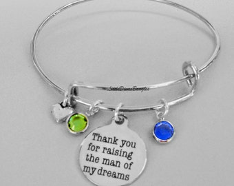 Thank You For Raising The Man of My Dreams Charm Bracelet W/ Birthstone Drop / Mother In Law Bangle / Gift For Her  USA # S1 - 05