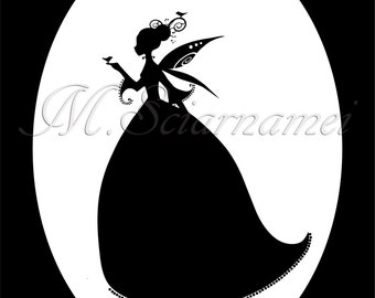 Fairy-Silhouette-Instant Download-Printable-Image-Pixie-Black and White-Illustration-Wall Decor