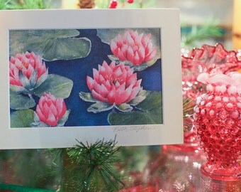 Water Lily Painting  Water Lilies Art Print  Pink Waterlilies  Watercolor Print