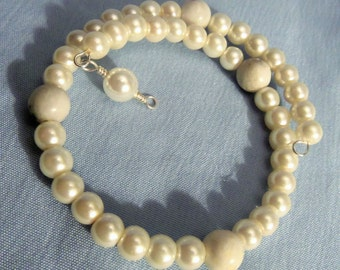 Simple Memory Wire Pearl Bracelet