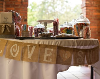 Love is Sweet Burlap Banner