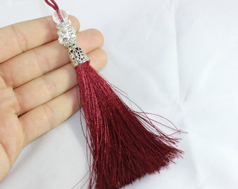 5 Pcs Bordeaux Silky Thread Tassel, Beaded Tassel Necklace, 130 mm Tassel Pendants with Swarovski Stones