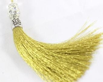 1 Pc Golden Silky Thread Tassel, Beaded Tassel Necklace, 130 mm Tassel Pendants with Rhinestones and Silver Bead Caps