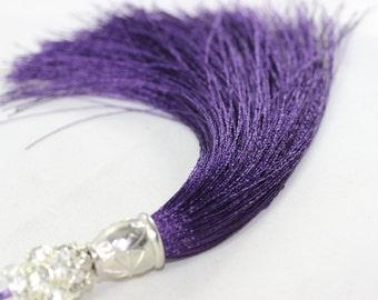 5 Pcs Dark Purple Silky Thread Tassel, Beaded Tassel Necklace, 130 mm Tassel Pendants with Rhinestones