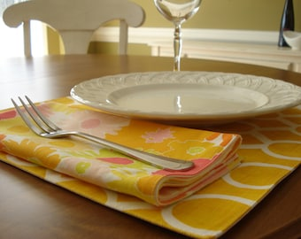 Placemats/Dinng Table/ Cloth Placemats/Sunflower Yellow Linens for the Table/Ready To Ship
