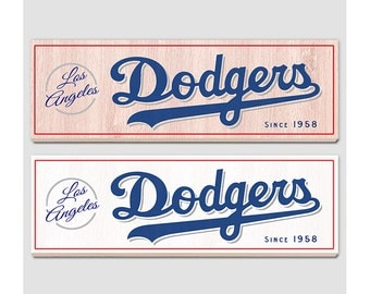 """Los Angeles Dodgers Wood sign - 7"""" x 22"""" - LA Dodgers fan wall hanging - Boys room Man cave Sports Bar decor - Fathers Day gift for Dad"""