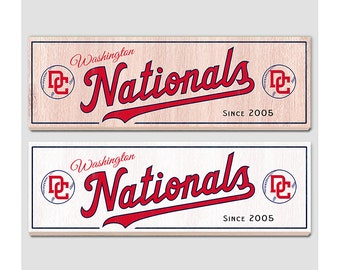 """Washington Nationals wood sign - 7"""" x 22"""" - Nationals fan wall hanging - Boys room Man cave Sports Bar decor -  Fathers Day gift for Dad"""