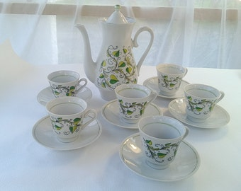 Vintage coffee set Coffee pot and cups White and green coffee set Kitchen decor Porcelain coffee set Antique coffee set Made in USSR