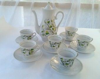 Wedding gift Vintage coffee set Coffee pot cups White green coffee set Kitchen Russian decor Porcelain coffee set Antique coffee set
