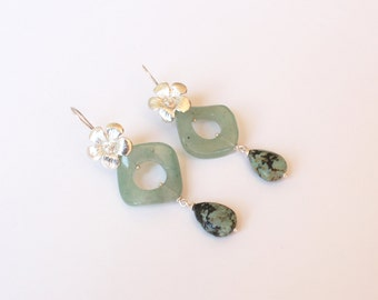 Aventurine earrings, turquoise and Silver 925