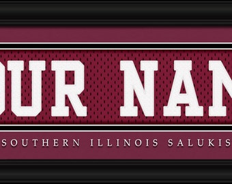 Southern Illinois Salukis -Free Shipping-Personalized Jersey Stitch FRAMED Print-NCAA