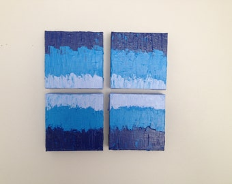 Abstract Painting Shades of blue - 4 panels Original textured painting