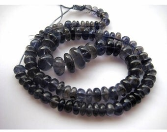 Iolite Rondelles, Rondelle Beads, Iolite Beads, 6mm To 12mm Beads, Wholesale Price, 90 Pieces, 15 Inch Strand