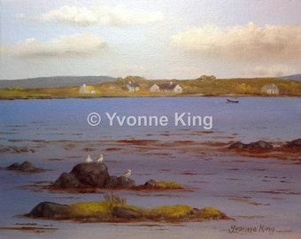 Original Irish Painting,Wild Atlantic Way,Yvonne King,Connemara,West of Ireland,Roundstone,Seascape,Cottages,Seagulls,Island,Currach,Gift