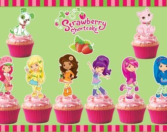 12 Strawberry Shortcake  Cupcake Toppers,PartyVille ,Strawberry Shortcake Cake,Strawberry Shortcake Birthday
