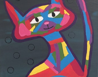 Abstract Colorful Cat