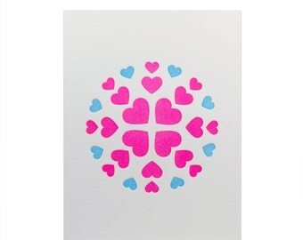Love Letterpress Card // Valentine's Day // Heart Flake // Hearts
