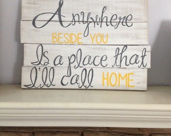 CUSTOMIZABLE-White, Yellow, & Gray Distressed Wood Pallet Sign- Home Decor
