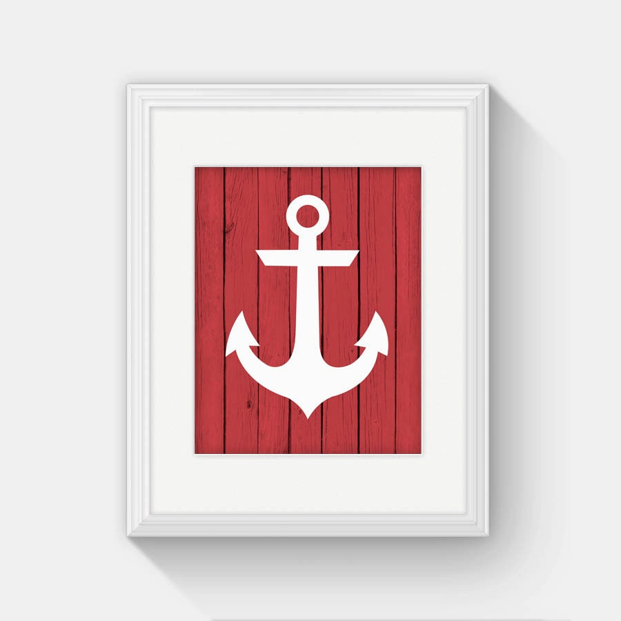 Anchor print printable nautical decor anchor wall decor for Anchor decor