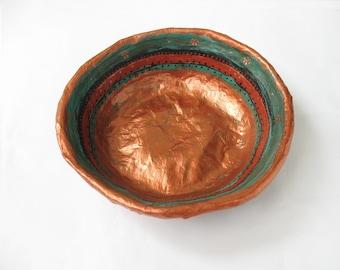 paper bowl, paper mache, Papier Mâché, papier mache, handmade bowl, decorative bowl, original art