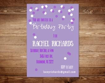 Purple Birthday Invitations - Purple Birthday Invitation Template - Purple Birthday Party Invitation
