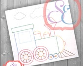Choo Choo Train For Machine Embroidery - Vintage Embroidery Design INSTANT DOWNLOAD