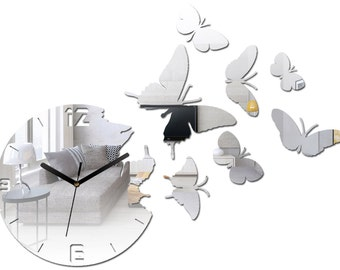 Wall Clock BUTTERFLY  MIRROR  large wall clock gift wall decor Unique wall clocks