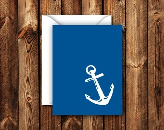 Navy Blue Anchor Nautical Folded Blank Note Card Thank you Card Greeting Card