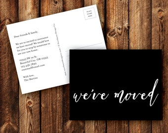 We Moved Postcard We've Moved Announcement Peach Black Blue Turquoise Just Moved New Address Card DIGITAL or PRINTED
