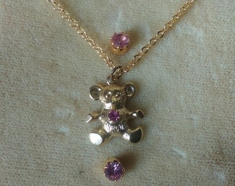 Small vintage bear necklace with earrings