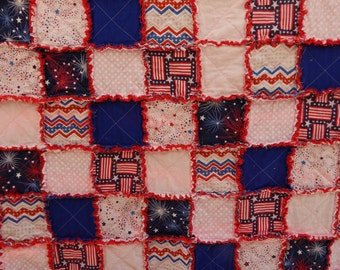 Patriotic Rag Quilt, 4th of July Quilt, Red White and Blue Quilt, American Quilt, USA Quilt, Festive Throw