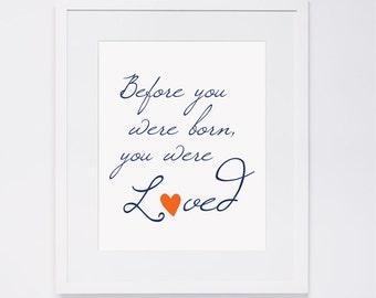 Nursery Wall Art - LOVED, navy & orange quote, digital art INSTANT DOWNLOAD