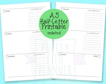 Undated Planner A5 / Half Letter Printable Inserts wo2p